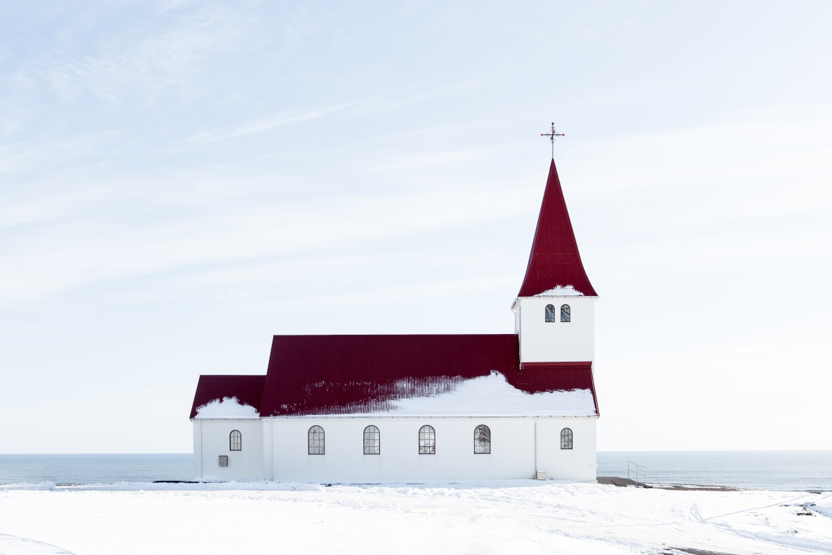 Vik temploma télen, Izland
